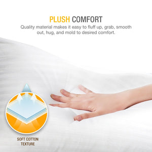 DreamNorth PREMIUM Gel Pillow Loft (Pack of 2) Luxury Plush Gel Bed Pillow For Home + Hotel Collection [Good For Side and Back Sleeper] Cotton Cover Dust Mite Resistant & Hypoallergenic - Queen Size - White Elephant Gift