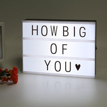 Load image into Gallery viewer, ME456 Battery Powered Cinematic Light Up Box with 90 Interchangeable Letter, Numbers and Symbols (A4 Size) - White Elephant Gift