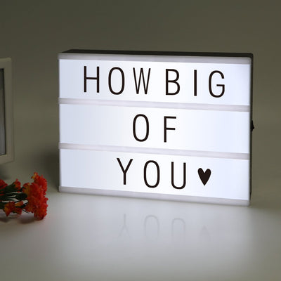 ME456 Battery Powered Cinematic Light Up Box with 90 Interchangeable Letter, Numbers and Symbols (A4 Size) - White Elephant Gift