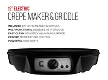 "Load image into Gallery viewer, Chefman 12"" Electric Crepe Maker & Griddle, Precise Temperature Control for Perfect Crepes, Blintzes, Pancakes, Eggs, Bacon and more, Non Stick, Includes Batter Spreader & Spatula - White Elephant Gift"