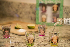 Golden Girls Shot Glasses | Fun Drinking Games | Set of 4 Collectible Glasses | Perfect For Parties, Game Night, Bachelor, Bachelorette Party, College Graduation and Birthdays - White Elephant Gift