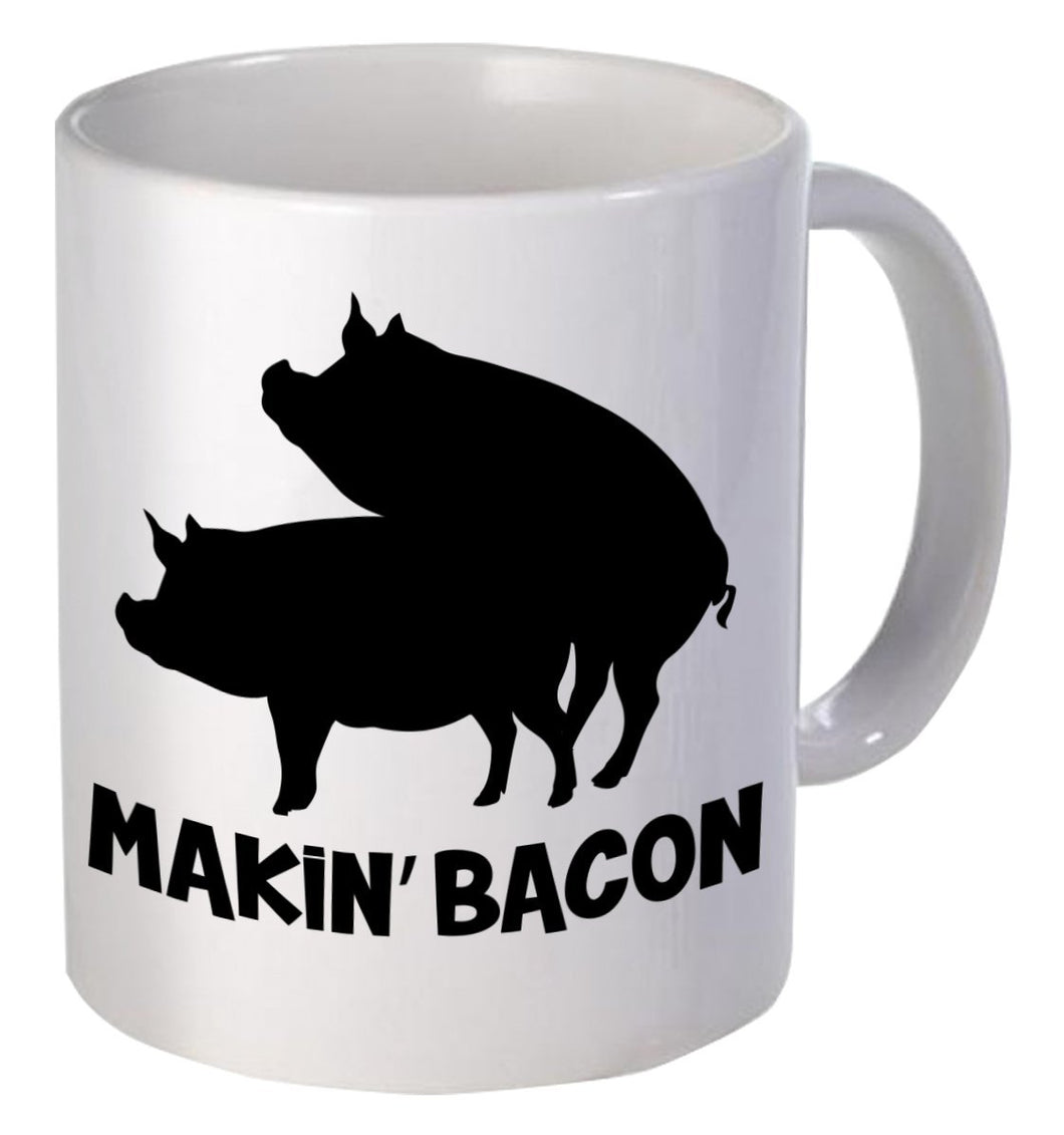 Willcallyou Makin' Bacon Pigs Breakfast 11 Ounces Funny Coffee Mug - White Elephant Gift