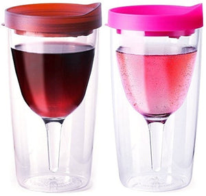 Vino2Go Wine Tumblers, 10-Ounce, Set of 2, Merlot and Pink - White Elephant Gift