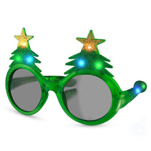 Load image into Gallery viewer, Glitter Christmas Light Up Flashing LED Sunglasses - White Elephant Gift