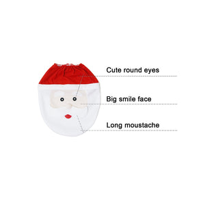 Mosoan Happy Santa Toilet Seat Cover and Rug Set Red - Christmas Bathroom Decorations - Set of 3 - White Elephant Gift