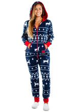 Load image into Gallery viewer, Tipsy Elves Ugly Christmas Sweater Party - Fair Isle Blue Adult Jumpsuit Size S