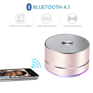 A2 LENRUE Portable Wireless Bluetooth Speaker with Built-in-Mic,Handsfree Call,AUX Line,TF Card,HD Sound and Bass for iPhone Ipad Android Smartphone and More(Rose Gold) - White Elephant Gift