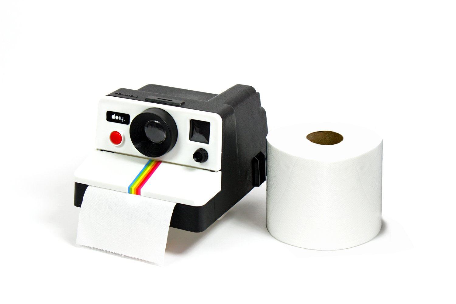 doiy chinka Polaroll Instantly at Hand 80S Style Retro Camera Toilet Paper Roll Holder - White Elephant Gift