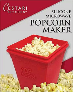Microwave Popcorn Popper | Replaces Microwave Popcorn Bags | Enjoy Healthy Air Popped Popcorn - No Oil Needed | BPA Free Premium European Grade Silicone Popcorn Maker by Cestari Kitchen (Makes 8 Cups) - White Elephant Gift