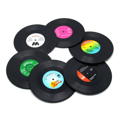 DuoMuo Coaster Vinyl Record Disk Coasters for Drinks - Tabletop Protection Prevents Furniture Damage (6 PCS Vinyl) - White Elephant Gift