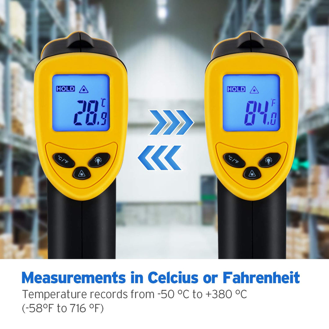 Etekcity Lasergrip 774 Non-contact Digital Laser Infrared Thermometer Temperature Gun -58℉~ 716℉ (-50℃ ~ 380℃), Yellow and Black - White Elephant Gift