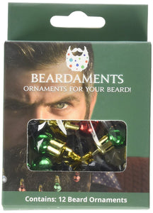 Beardaments Beard Ornaments, 12pc Colorful Christmas Facial Hair Baubles for Men in the Holiday Spirit, Easy Attach Mini Mustache, Sideburns, Goatee Whisker Clips, Festive Red, Green, Gold, Silver Mix - White Elephant Gift