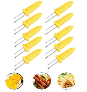 Fashionclubs Corn on the Cob Holders Set for Skewers BBQ Twin Prong Sweetcorn Holder Fork Kitchen Tool -10 pcs - White Elephant Gift