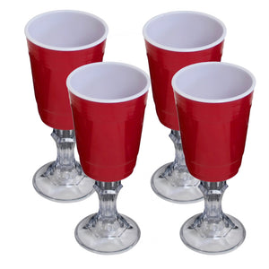 Red Cup 16-Ounce Stemmed Wine Glass - 4-Pack - White Elephant Gift