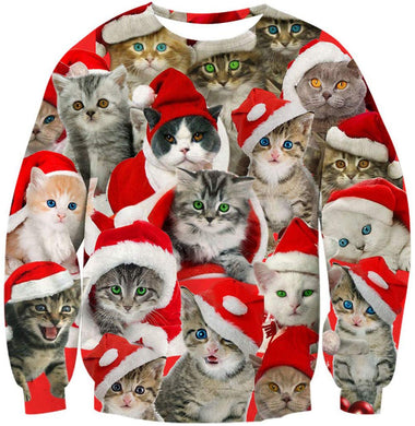 Big and Tall Men Women Ugly Christmas Sweater 3D Cute Animal Printed Pullover Funny Xmas Multicolor Cats with Hat Winter Round Neck Hip Hop Clothing for Family Birthday Party Long Sleeve Shirt Large