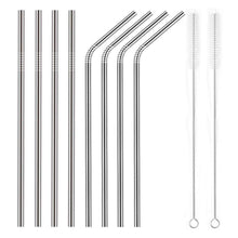 Load image into Gallery viewer, YIHONG Set of 8 Stainless Steel Metal Straws Ultra Long 10.5 Inch Reusable Straws For Tumblers Rumblers Cold Beverage (4 Straight|4 Bent|2 Brushes) - White Elephant Gift
