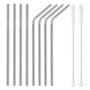 YIHONG Set of 8 Stainless Steel Metal Straws Ultra Long 10.5 Inch Reusable Straws For Tumblers Rumblers Cold Beverage (4 Straight|4 Bent|2 Brushes) - White Elephant Gift