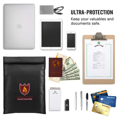 "Fireproof Money & Document Bag, MoKo 15"" x 11"" Fire & Water Resistant Cash & Envelope Holder, Protect Your Valuables, Documents, Money, Jewelry, Zipper Closure for Maximum Protection, Black - White Elephant Gift"