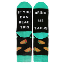 Load image into Gallery viewer, Novelty Funny Saying Crew Socks If You Can Read This Bring Me Tacos for Women