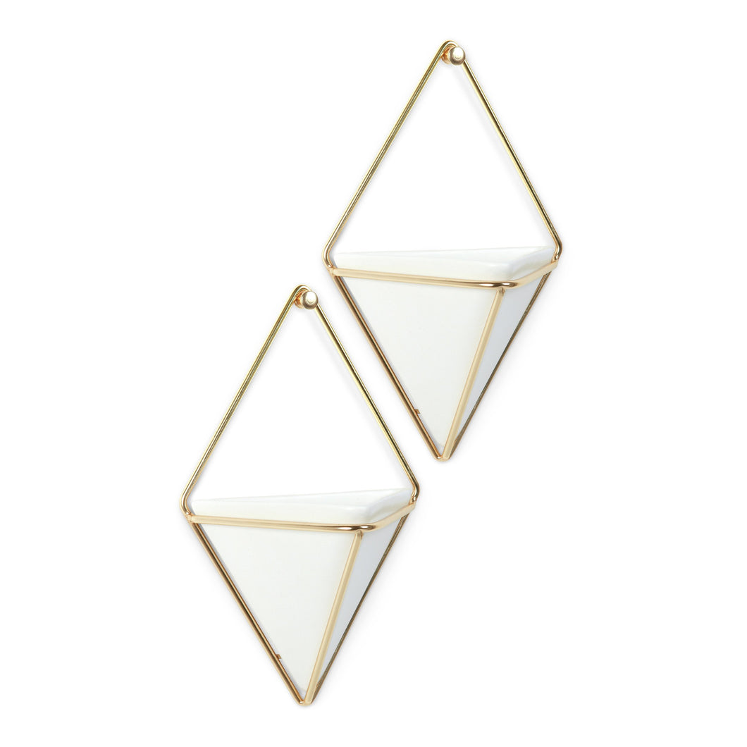 Umbra Trigg Hanging Planter Vase & Geometric Wall Decor Container - Great For Succulent Plants, Air Plant, Mini Cactus, Faux Plants and More, White Ceramic/Brass (Set of 2) - White Elephant Gift