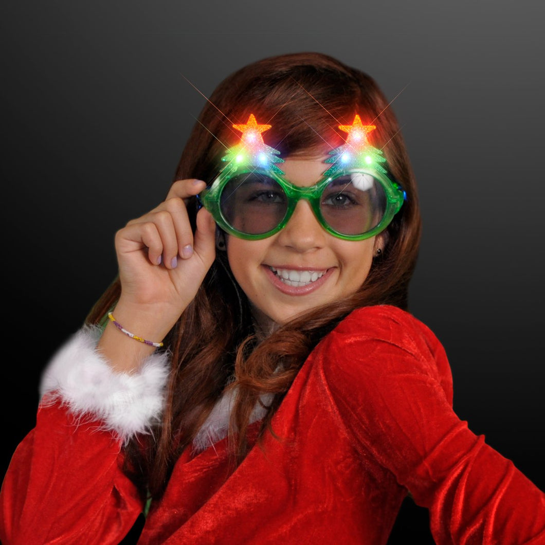 Glitter Christmas Light Up Flashing LED Sunglasses - White Elephant Gift
