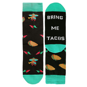 Novelty Funny Saying Crew Socks If You Can Read This Bring Me Tacos for Women
