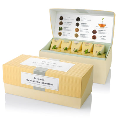 Tea Forté TEA TASTING ASSORTMENT Presentation Box Tea Sampler, Assorted Variety Tea Box, 20 Handcrafted Pyramid Tea Infuser Bags – Black Tea, White Tea, Green Tea, Herbal Tea - White Elephant Gift