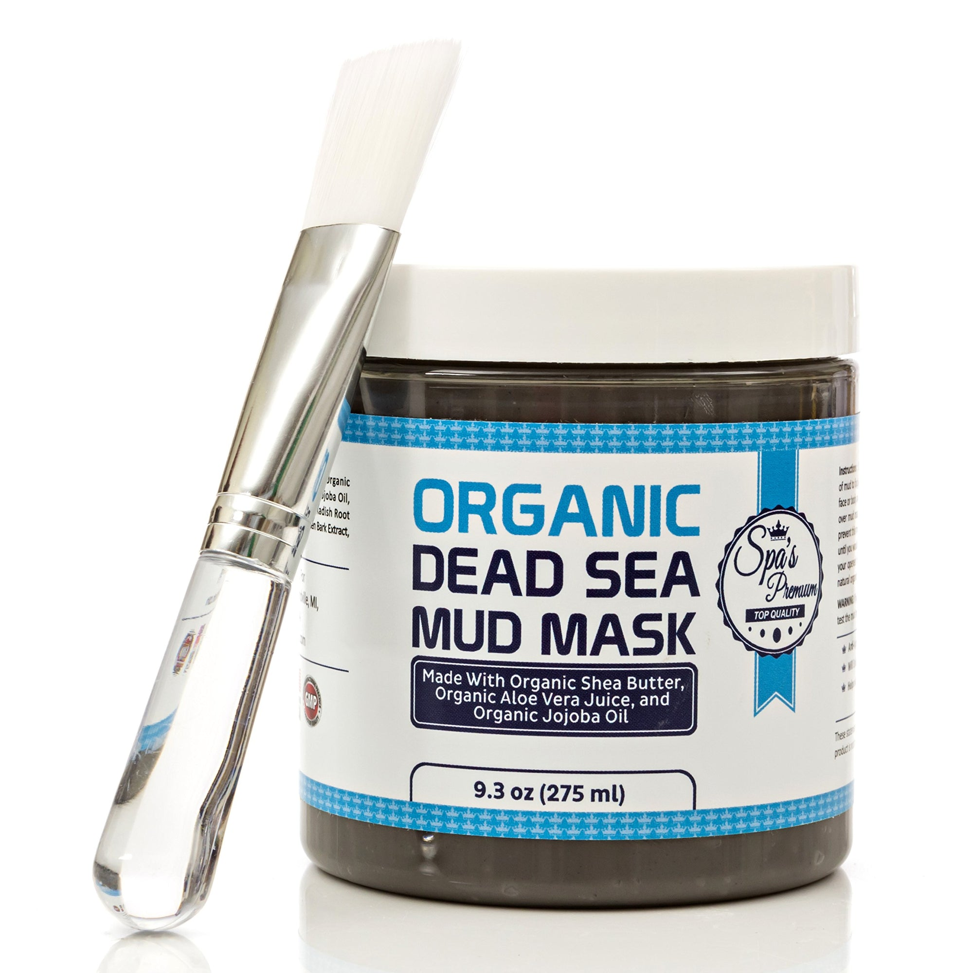 Dead Sea Mud Mask & Free Face Brush - HUGE Jar - Clears Acne - Anti-Aging - Exfoliate Skin - Moisturize - Aloe Vera Juice - Jojoba - Sunflower - Hickory Bark Extract - Calendula Oil - Shea Butter - White Elephant Gift