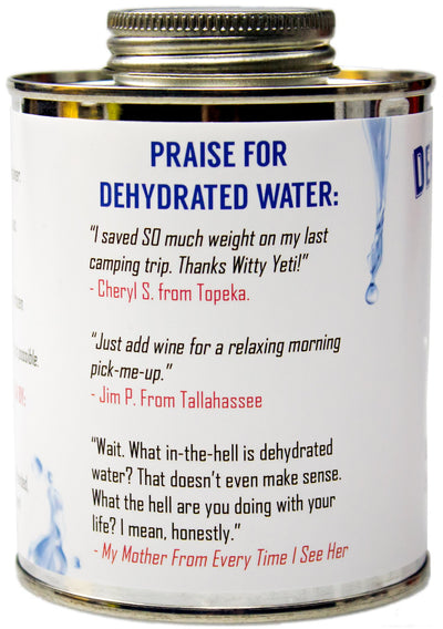 Witty Yeti Dehydrated Water 16oz Can - White Elephant Gift