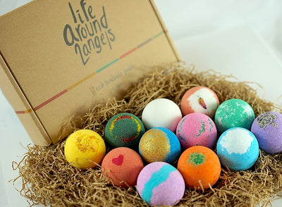 LifeAround2Angels Bath Bombs Gift Set 12 USA made Fizzies, Shea & Coco Butter Dry Skin Moisturize, Perfect for Bubble & Spa Bath. Handmade Birthday Mothers day Gifts idea For Her/Him, wife, girlfriend - White Elephant Gift