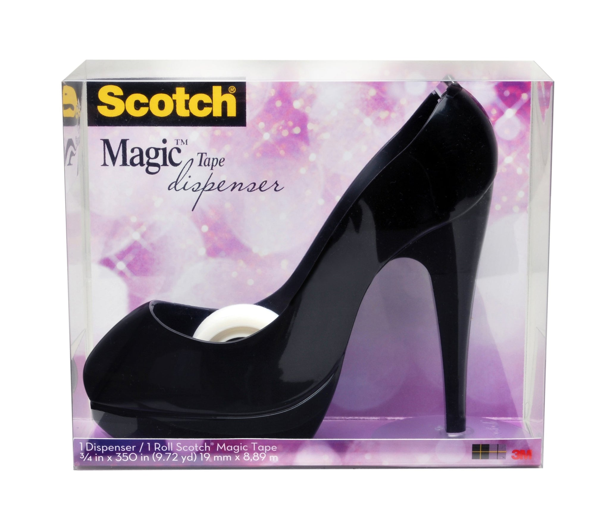 Scotch Shoe Dispenser with Scotch Magic Tape, Black, 3/4 x 350 Inches, 1 Roll, 1 Dispenser (C30-SHOE-B) - White Elephant Gift