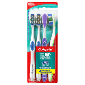 Colgate 360 Adult Toothbrush, Medium (4 Count) - White Elephant Gift