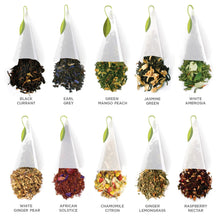 Load image into Gallery viewer, Tea Forté TEA TASTING ASSORTMENT Presentation Box Tea Sampler, Assorted Variety Tea Box, 20 Handcrafted Pyramid Tea Infuser Bags – Black Tea, White Tea, Green Tea, Herbal Tea - White Elephant Gift