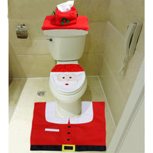Load image into Gallery viewer, Mosoan Happy Santa Toilet Seat Cover and Rug Set Red - Christmas Bathroom Decorations - Set of 3 - White Elephant Gift