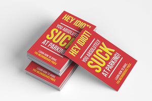 You Suck At Parking Cards (Pack of 50) - Color - Prank Cards - Joke