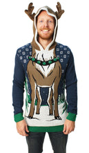 Load image into Gallery viewer, Ugly Christmas Sweater Men's Hooded Reindeer Sweater-Medium Blue Onyx