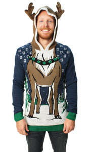 Ugly Christmas Sweater Men's Hooded Reindeer Sweater-Medium Blue Onyx
