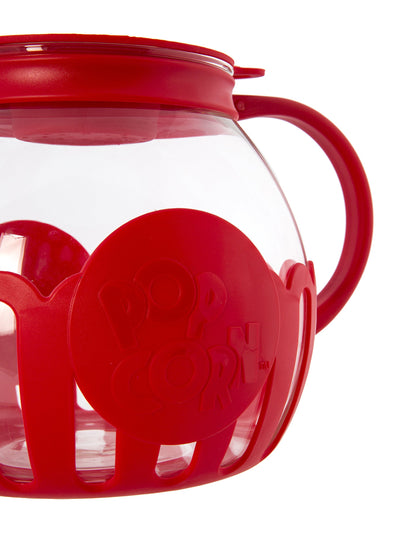 Ecolution EKPRE-4215 Micro-Pop Glass Popcorn Popper-Maker Large, 1.5 Qt-Snack Size, Eco-Friendly, Red - White Elephant Gift