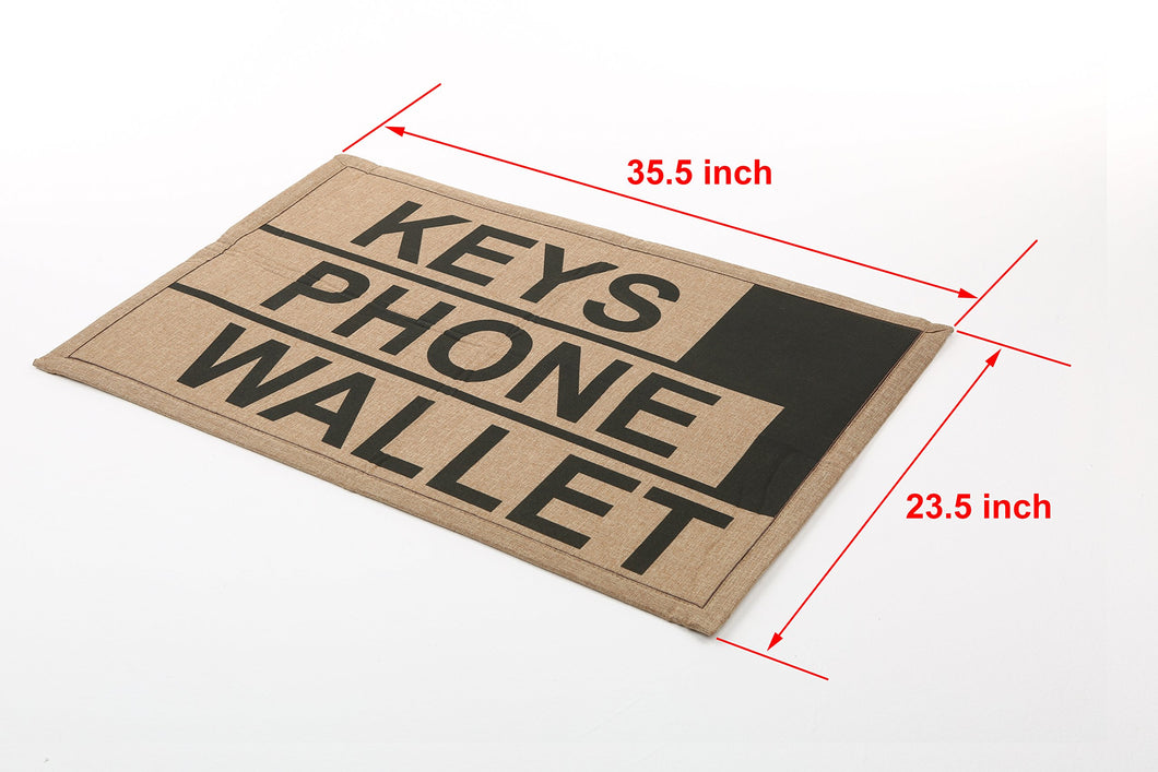MyGift 2 x 3 ft Brown Polyester Keys Phone Wallet Funny Reminder Doormat/Novelty Non-Slip Floor Mat - White Elephant Gift
