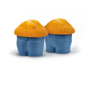 Fred MUFFIN TOPS Denim-Style Baking Cups, Set of 4 - White Elephant Gift