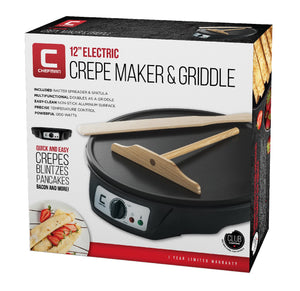 "Chefman 12"" Electric Crepe Maker & Griddle, Precise Temperature Control for Perfect Crepes, Blintzes, Pancakes, Eggs, Bacon and more, Non Stick, Includes Batter Spreader & Spatula - White Elephant Gift"