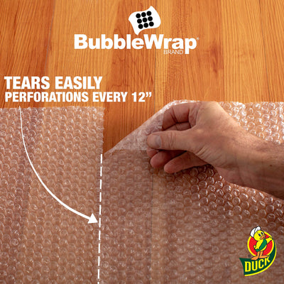 "Duck Brand Bubble Wrap Roll, 3/16"" Original Bubble Cushioning, 12"" x 150', Perforated Every 12"" (284054) - White Elephant Gift"
