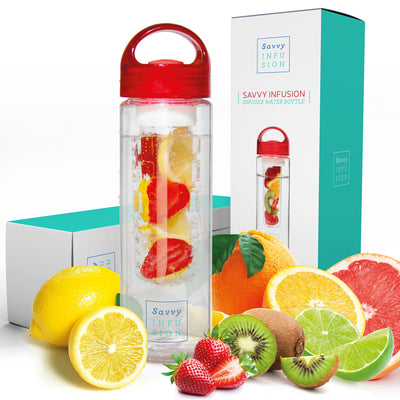 Savvy Infusion Water Bottles - 24 or 32 Ounce Fruit Infuser Bottle - Featuring Unique Leak Proof Silicone Sealed Cap with Handle - Great Gifts for Women - White Elephant Gift