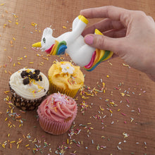 Load image into Gallery viewer, Spinning Hat Unicorn Sprinkles Sugar Shaker - White Elephant Gift