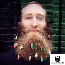 Load image into Gallery viewer, Beardaments Beard Ornaments, 12pc Colorful Christmas Facial Hair Baubles for Men in the Holiday Spirit, Easy Attach Mini Mustache, Sideburns, Goatee Whisker Clips, Festive Red, Green, Gold, Silver Mix - White Elephant Gift