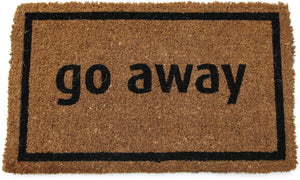Entryways Non Slip Coir Doormat, 17-Inch by 28-Inch, Go Away Black - White Elephant Gift