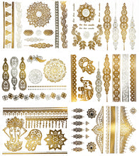 Load image into Gallery viewer, Temporary Boho Metallic Henna Tattoos - Over 75 Mandala Mehndi Designs in Gold and Silver (6 Sheets) Terra Tattoos Jasmine Collection - White Elephant Gift