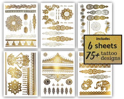 Temporary Boho Metallic Henna Tattoos - Over 75 Mandala Mehndi Designs in Gold and Silver (6 Sheets) Terra Tattoos Jasmine Collection - White Elephant Gift