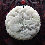 Chinese White Jade Dragon Pendant