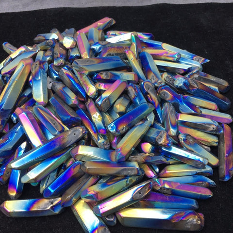 (10 Pieces) Titanium Rainbow Aura Lemurian Choose from Solid or With a Hole for Pendants